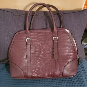 Faux gator purple handbag